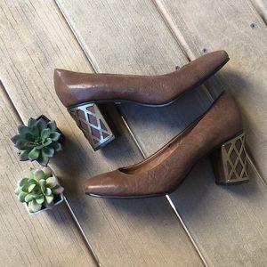 Vintage Nina Leather Block Heels